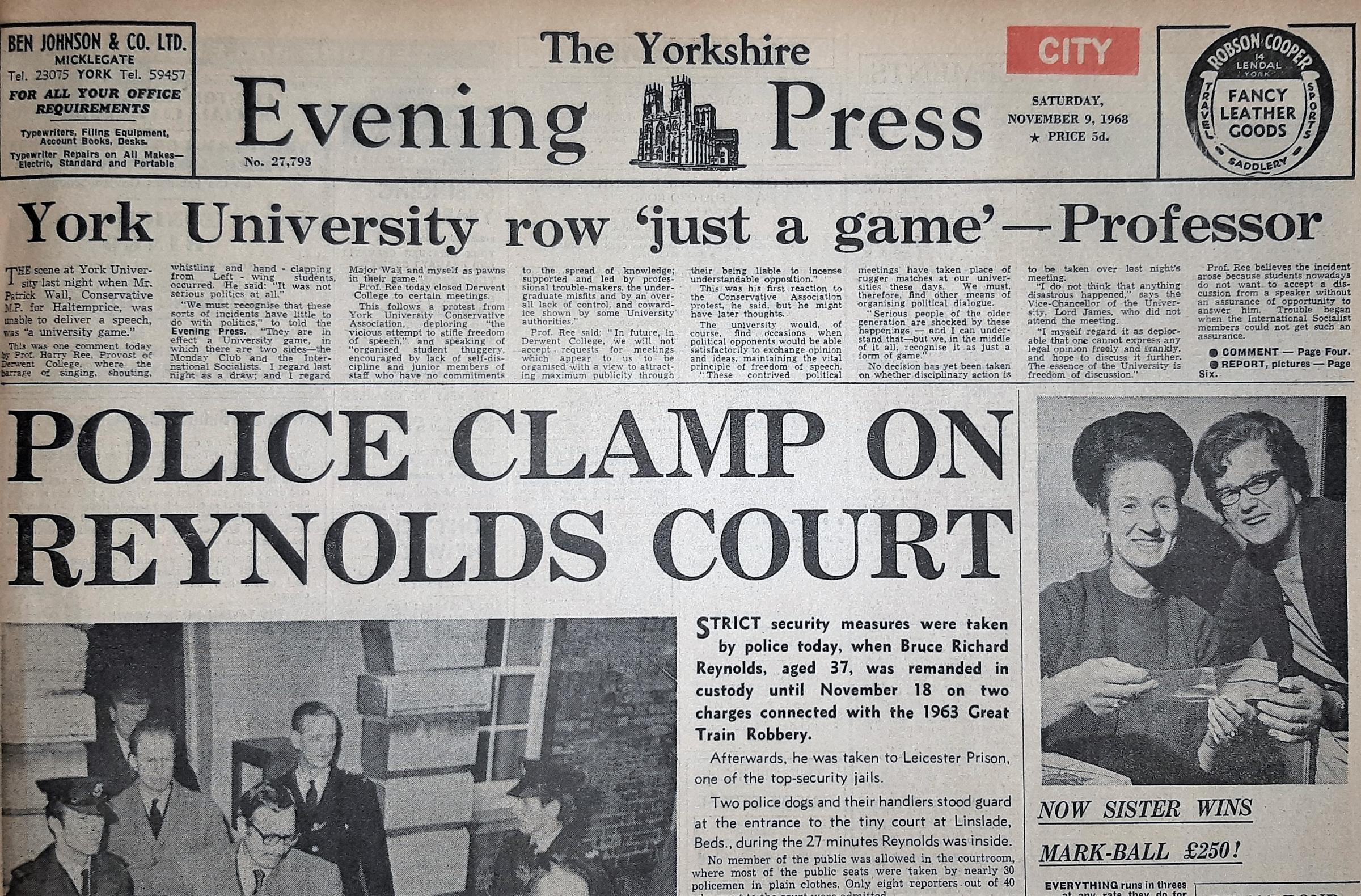 The front page of the Yorkshire Evening Press from November 9, 1968
