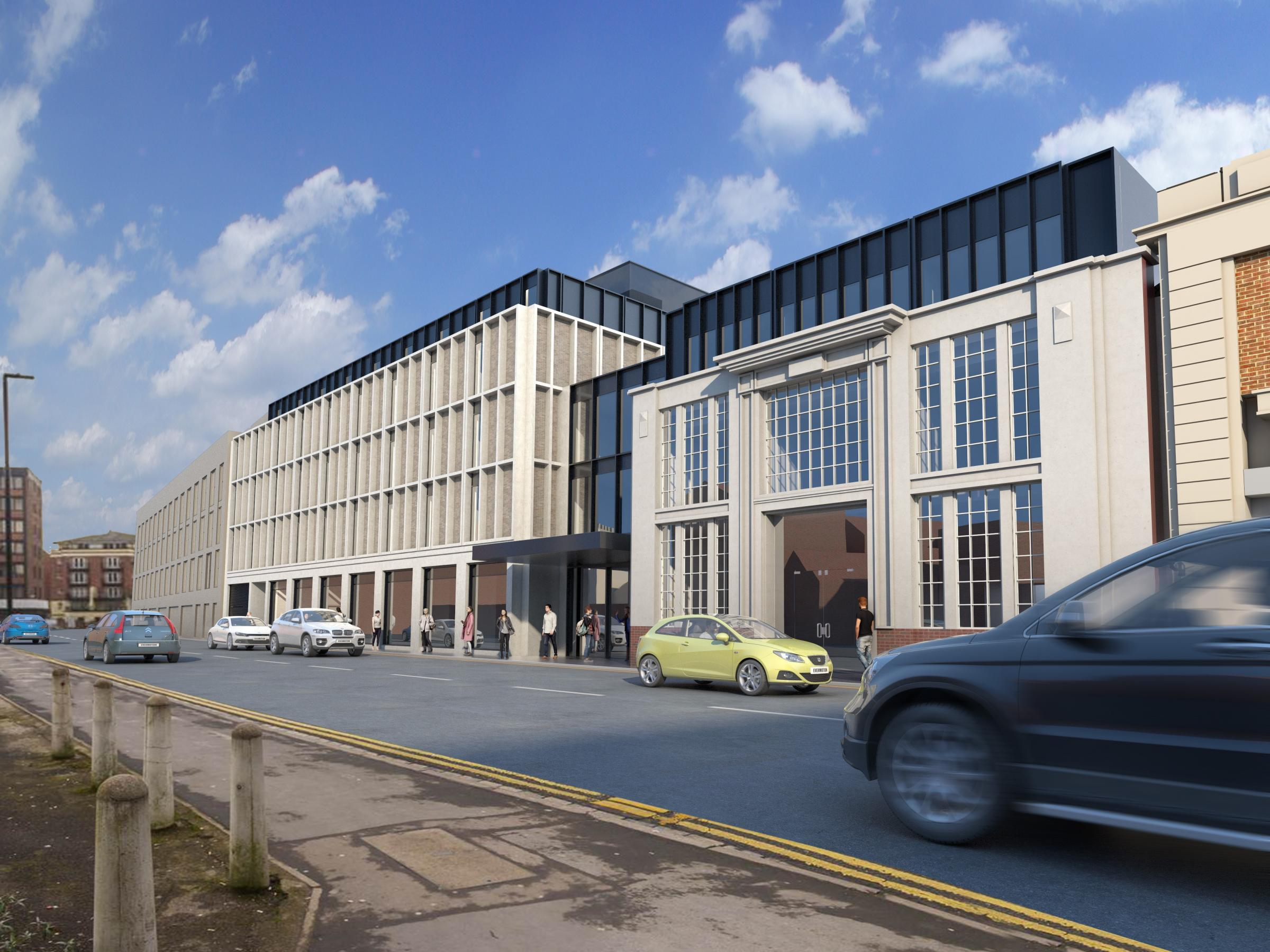 A computer generated image of the proposed new hotel on the Banana Warehouse site