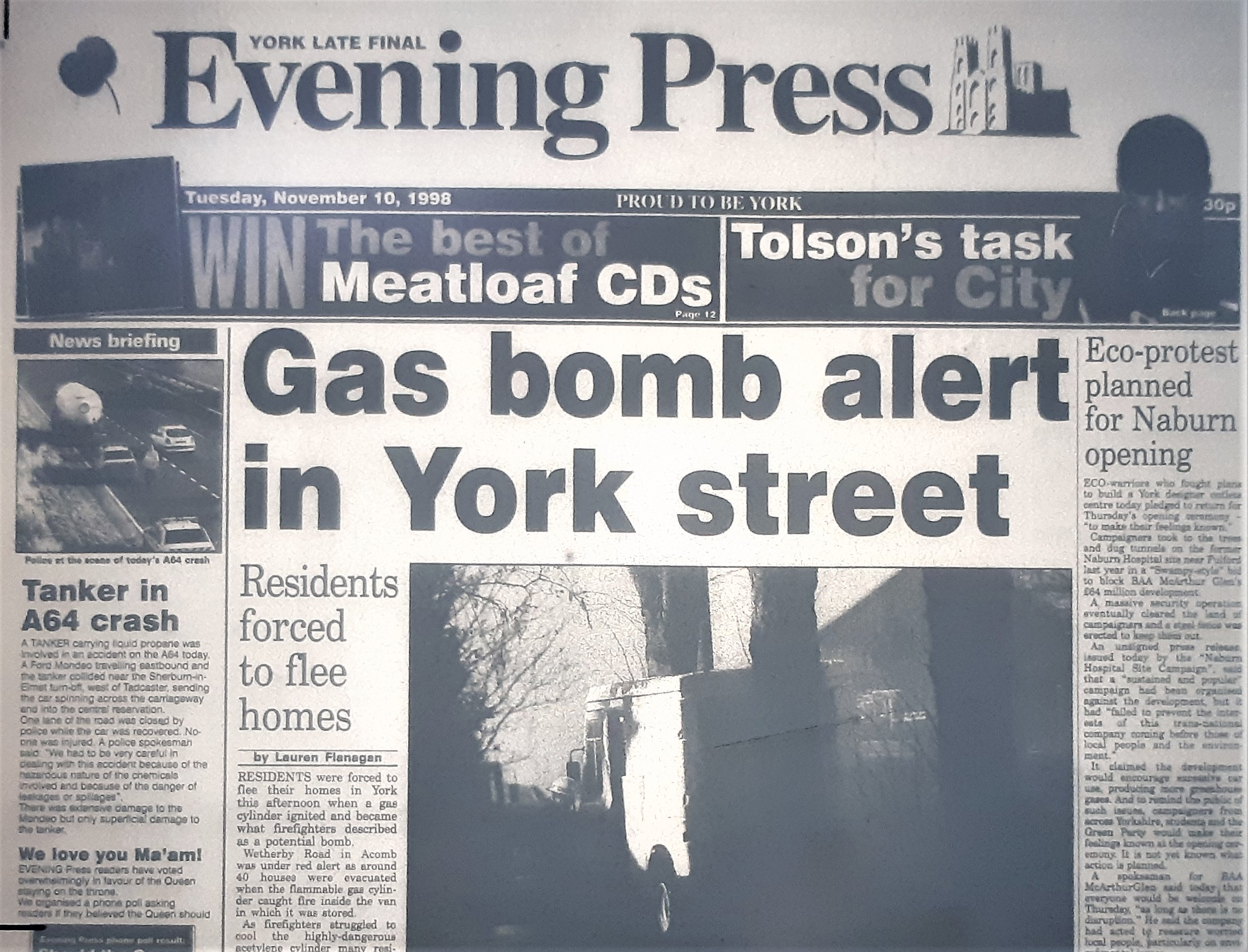 The front page of the Evening Press from November 10, 1998