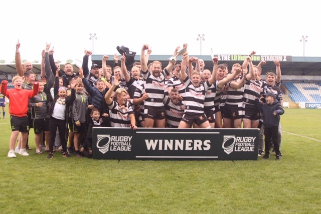 Heworth celebrate their Yorkshire Men's League division one play-off success over Cutsyke Raiders at Featherstone Rovers' Post Office Road gound. Picture: Peter Smith Photography