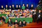 Pupils from Yearsley Grove Primary School who have collected food for the foodbank for Christmas   Picture Frank Dwyer