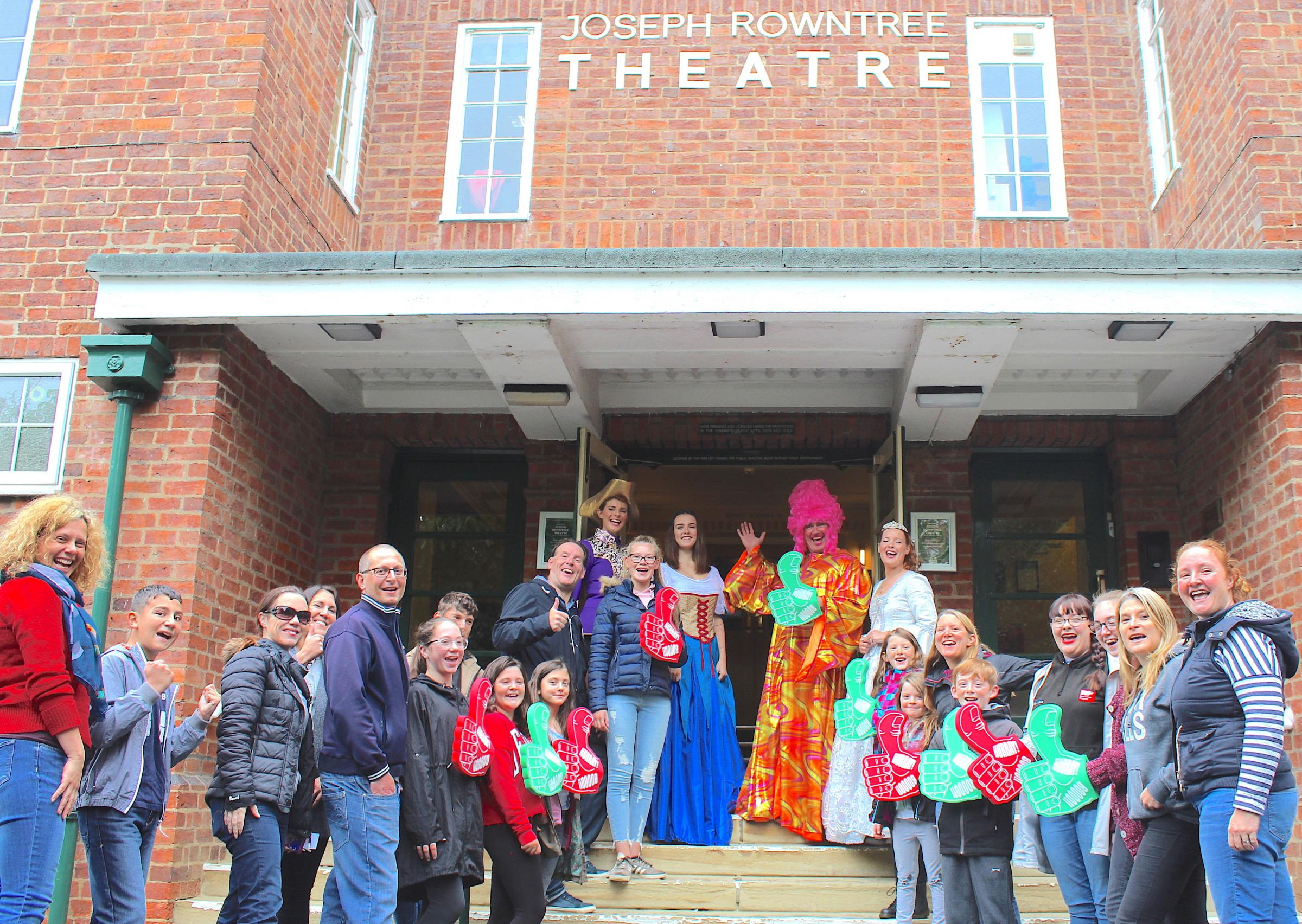 Rowntree Players launch their 2018 pantomime, Sleeping Beauty, on the steps of  the Joseph Rowntree Theatre