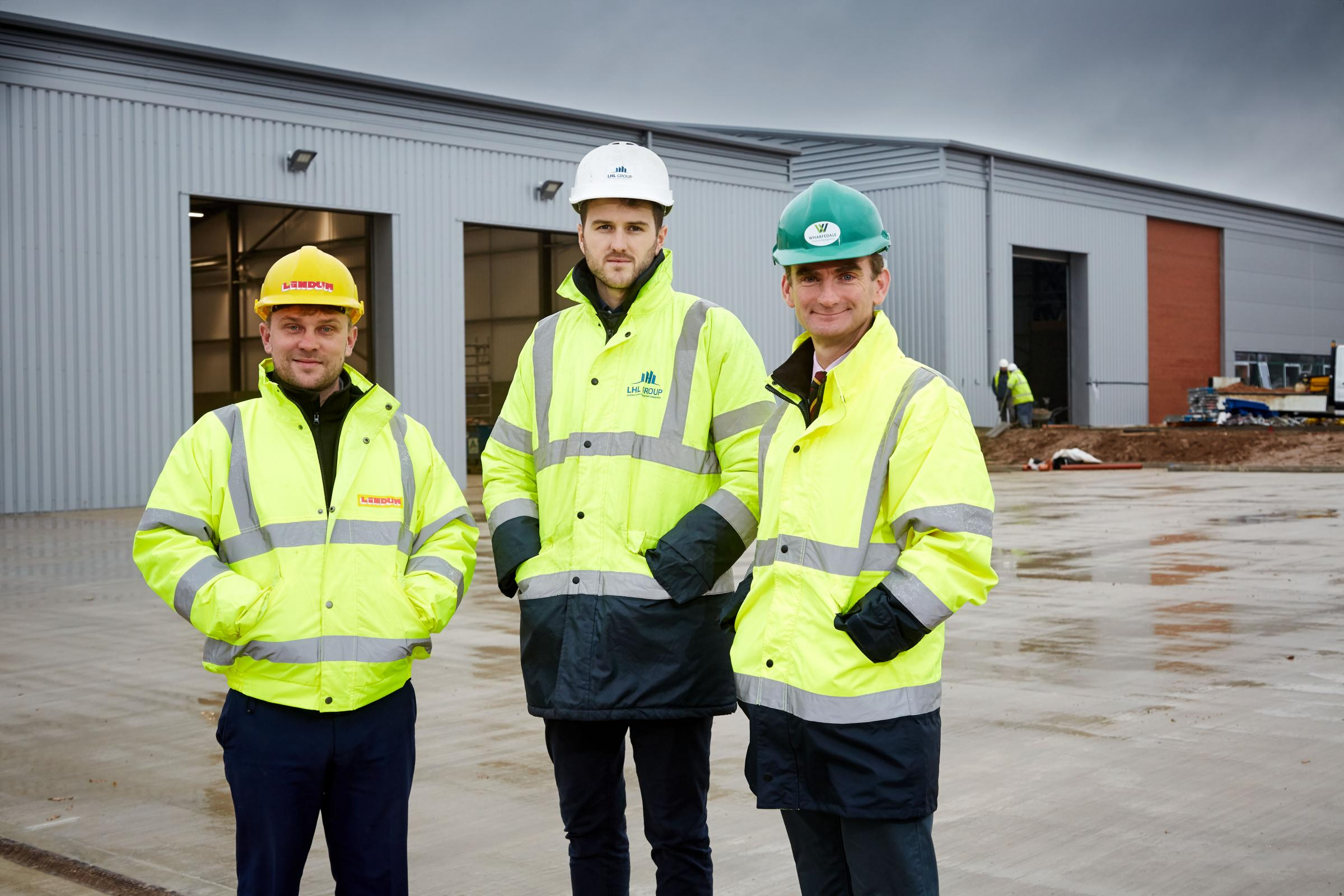 ON TARGET: Pictured from left are Lindum site manager, Mitch Blockley; LHL Group project manager and contract administrator, Daniel Bower and Wharfedale Property Management director, Tim Munns    Picture: Simon And Simon Photography