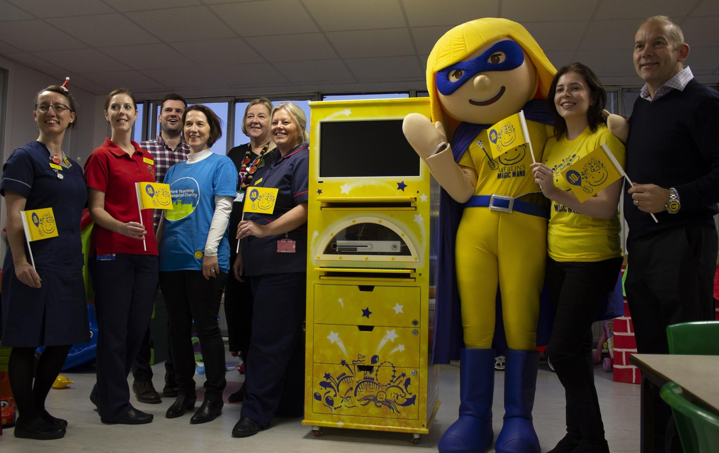 York Hospital children's ward staff, left, and the York Dungeon teamr  and York Dungeon tea show off the new Mobile Entertainment Unit