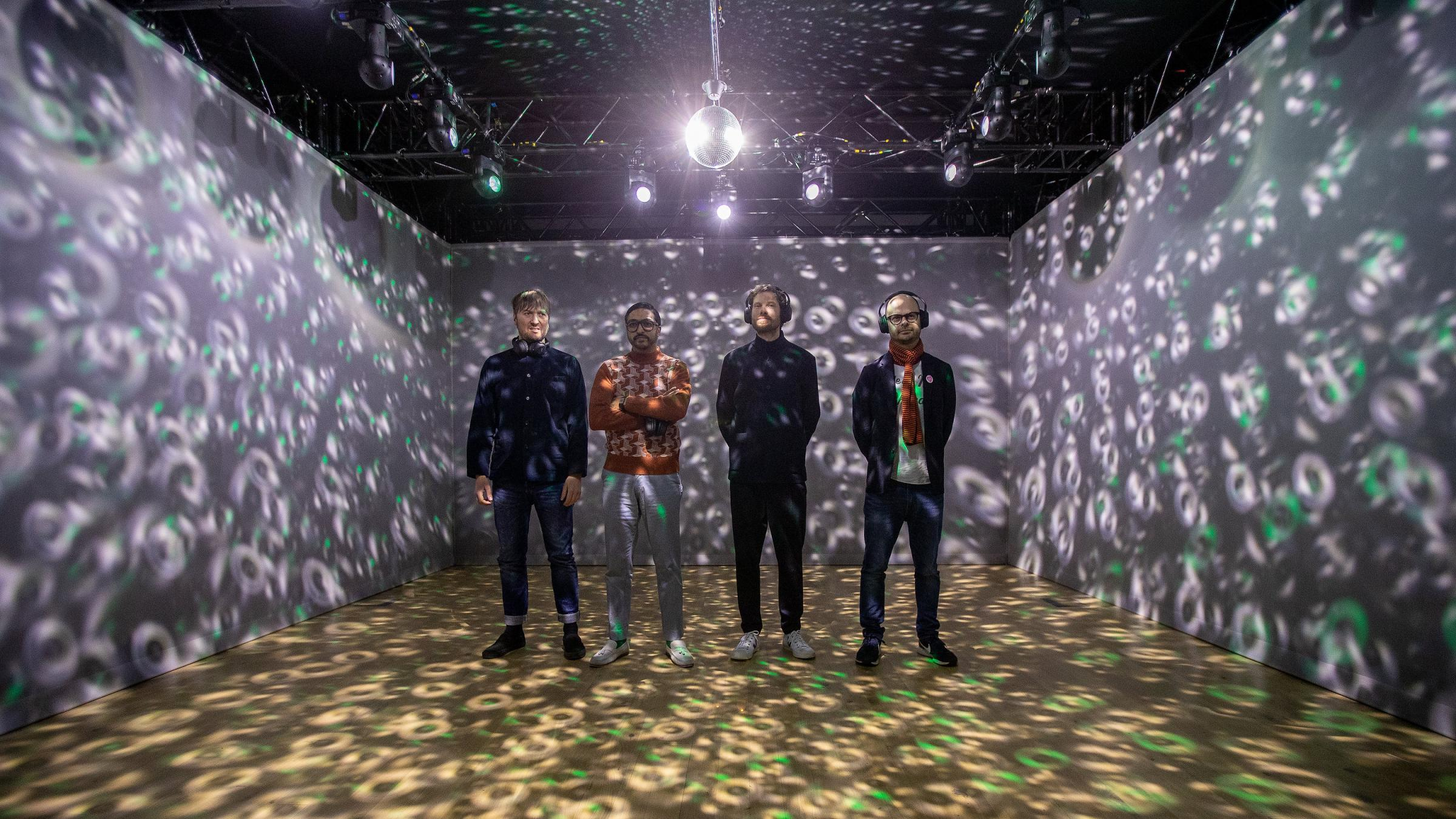"Kaiser Chiefs' Nick ""Peanut"" Baines, Vijay Mistry, Simon Rix  and Andrew White in the Silent Gig installation at York Art Gallery. Pictures: Charlotte Graham"