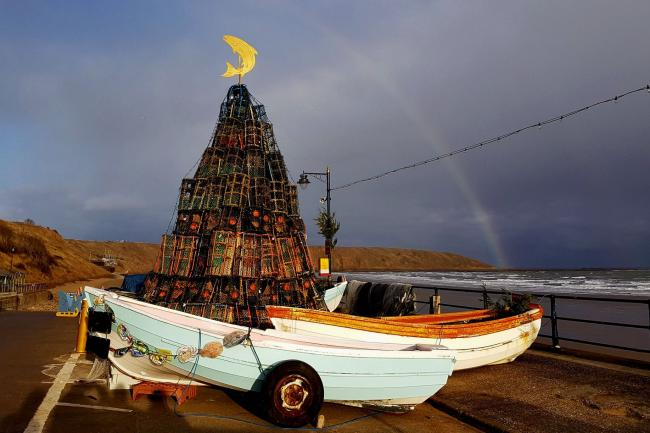 "Robin Denton took this picture of the ""Fishtive"" Christmas Tree on Coble Landing in Filey"