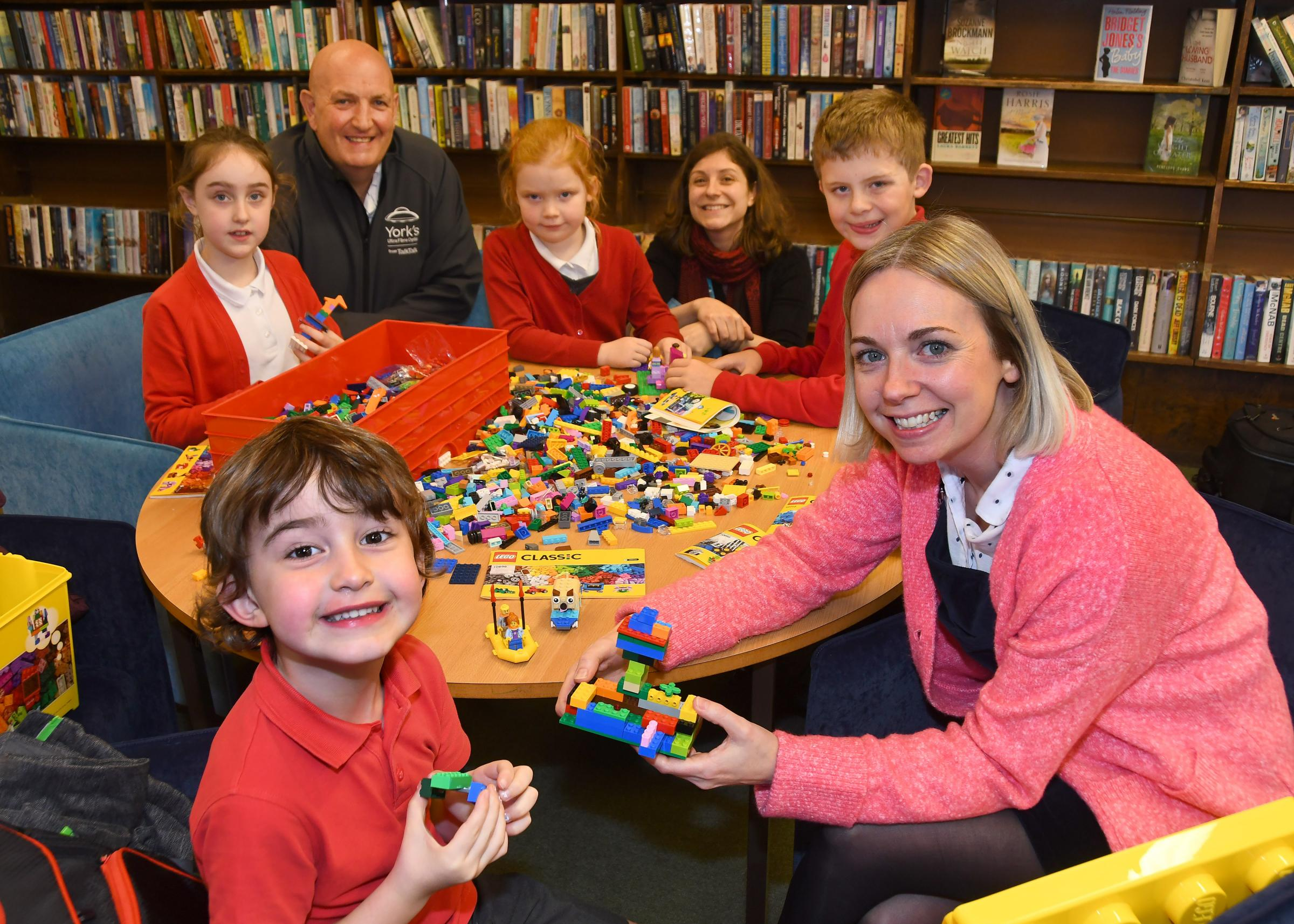 Pictured enjoying the Lego at Dringhouses library are front left Evan with Helen Fletcher from Talk Talk. Back from the left are Elsa, Steve Craven from TalkTalk, Amelie, Lucy Pell-Walpole, library gateway manager for York Explore Libraries, and Sam. Pict