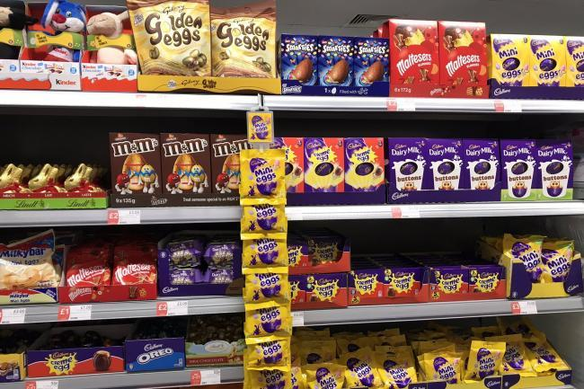 Easter eggs on display in supermarkets three days after