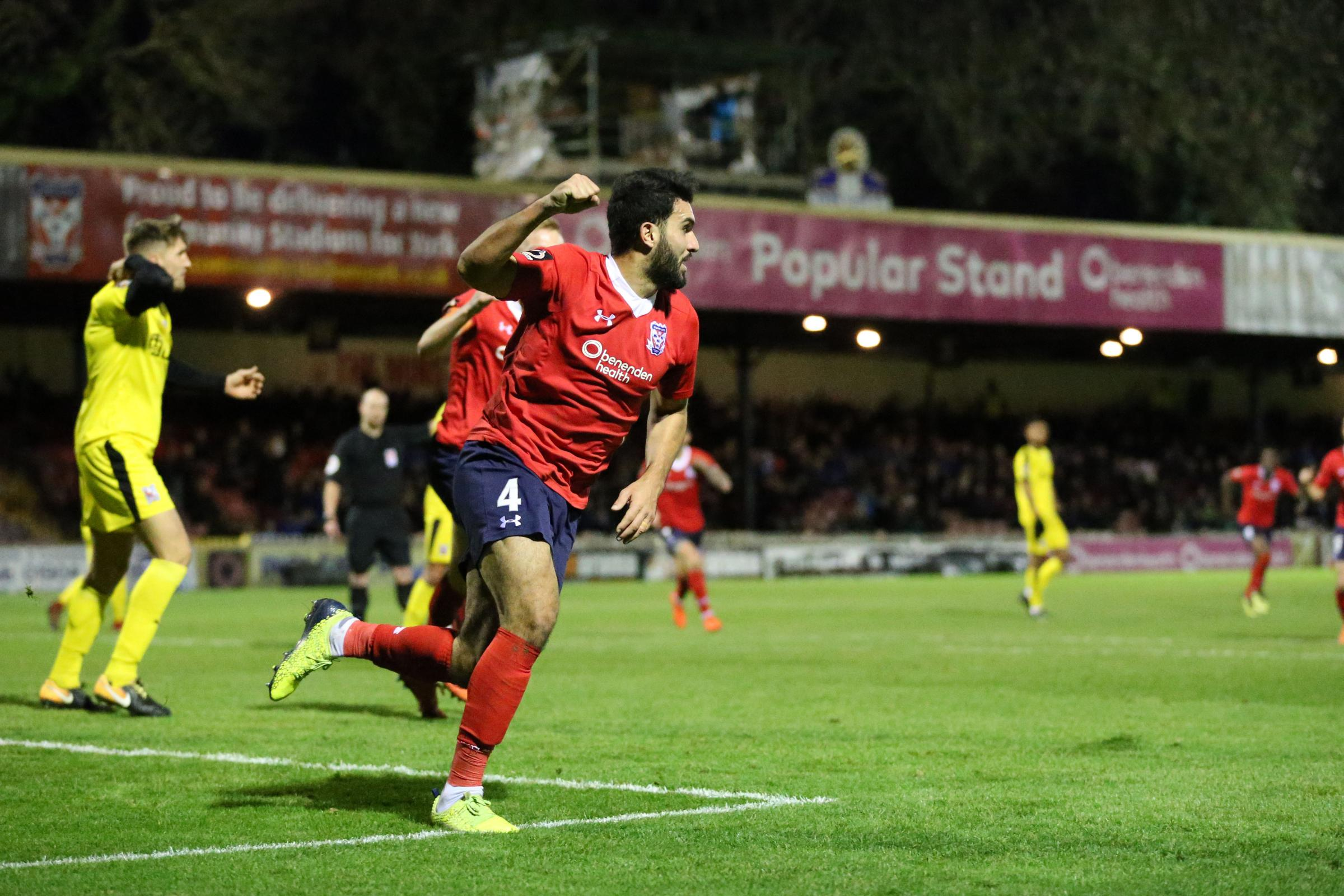 IN SEARCH OF A NEW BOSS: York City's Hamza Bencherif scored against Darlington recently. But the club are in deep trouble, and now managerless too. Photo: Gordon Clayton