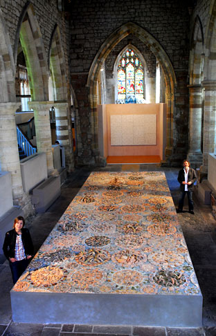 Artists Emma Biggs and Matthew Collings with Five Sisters mosaic exhibition at St Mary's Church, Coppergate, York