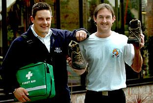 Craig Ward, left, from First Rescue and Andy Shields, who are to climb Mount Kilimanjaro to help raise money for Guardian Angels