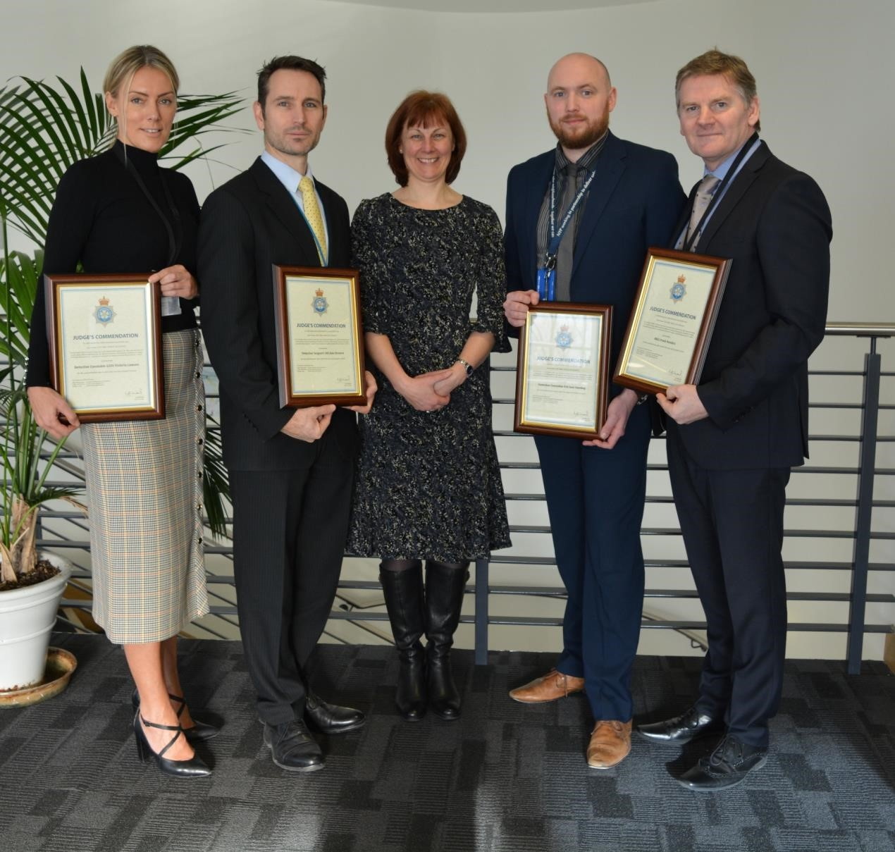 From left, Detective Constable Victoria Lawson, Detective Sergeant Alan Browne, Chief Constable Lisa Winward, Detective Constable Sam Harding and Police Staff Investigator Frank Penders