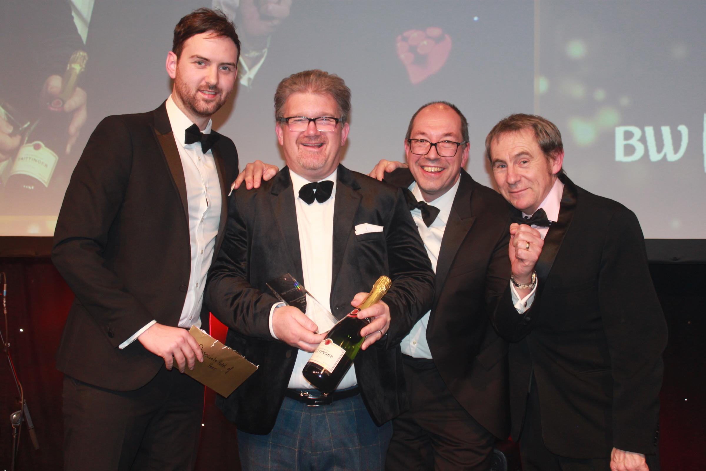 From left: Representative from Knight Frank, the sponsor of the award, Simon Murphy, general manager at Dean Court Hotel, Tim Rumney, chairman of Interchange and Consort Hotels (Best Western GB) and Nigel Barden, food and drink journalist and broadcaster