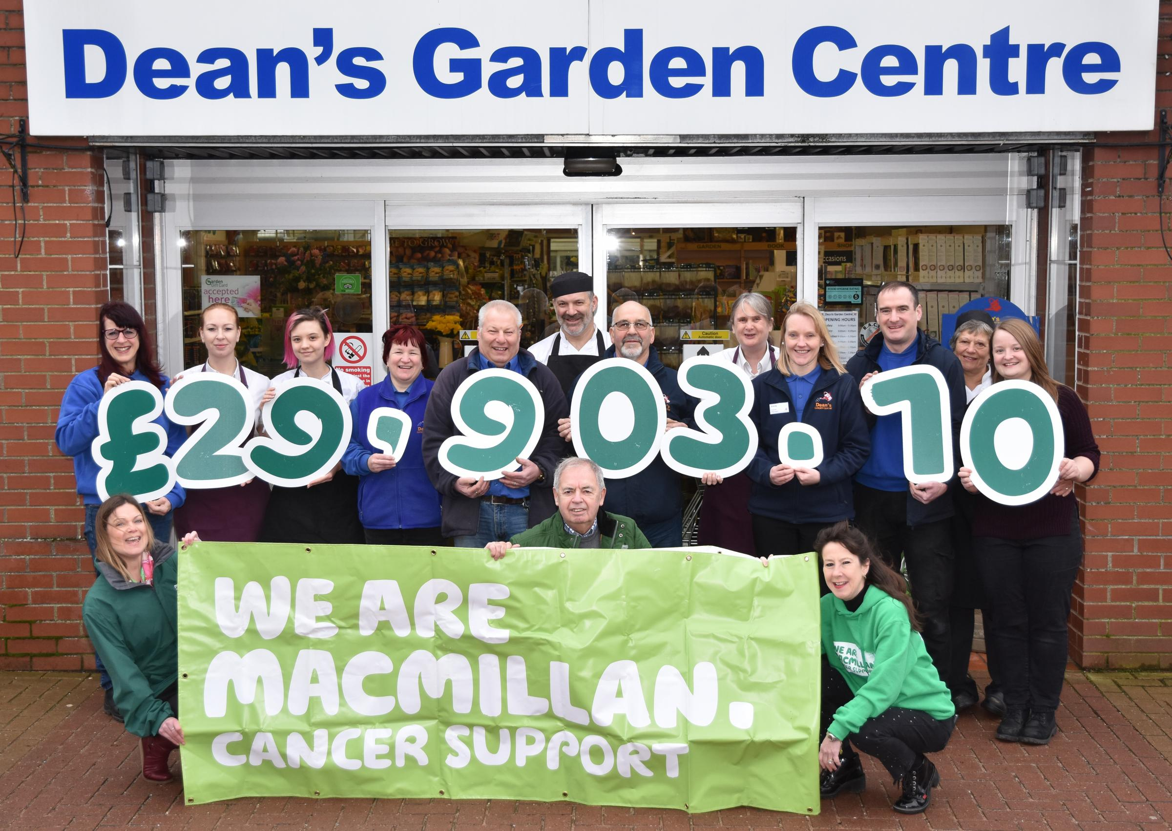 MAJOR BOOST: Dean's Garden Centre cheque presentation to Macmillan Cancer Support  Picture: Frank Dwyer
