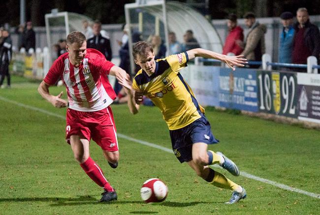 Tadcaster Albion's Casey Stewart, in yellow, netted a brace against Frickley