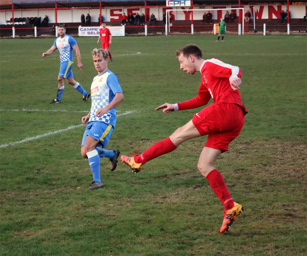 FAMOUS FIVE: Joe Dale was one of five different scorers for Selby Town as the Robins dispatched visitors Rossington Main 5-3. Picture: Dave Haddock