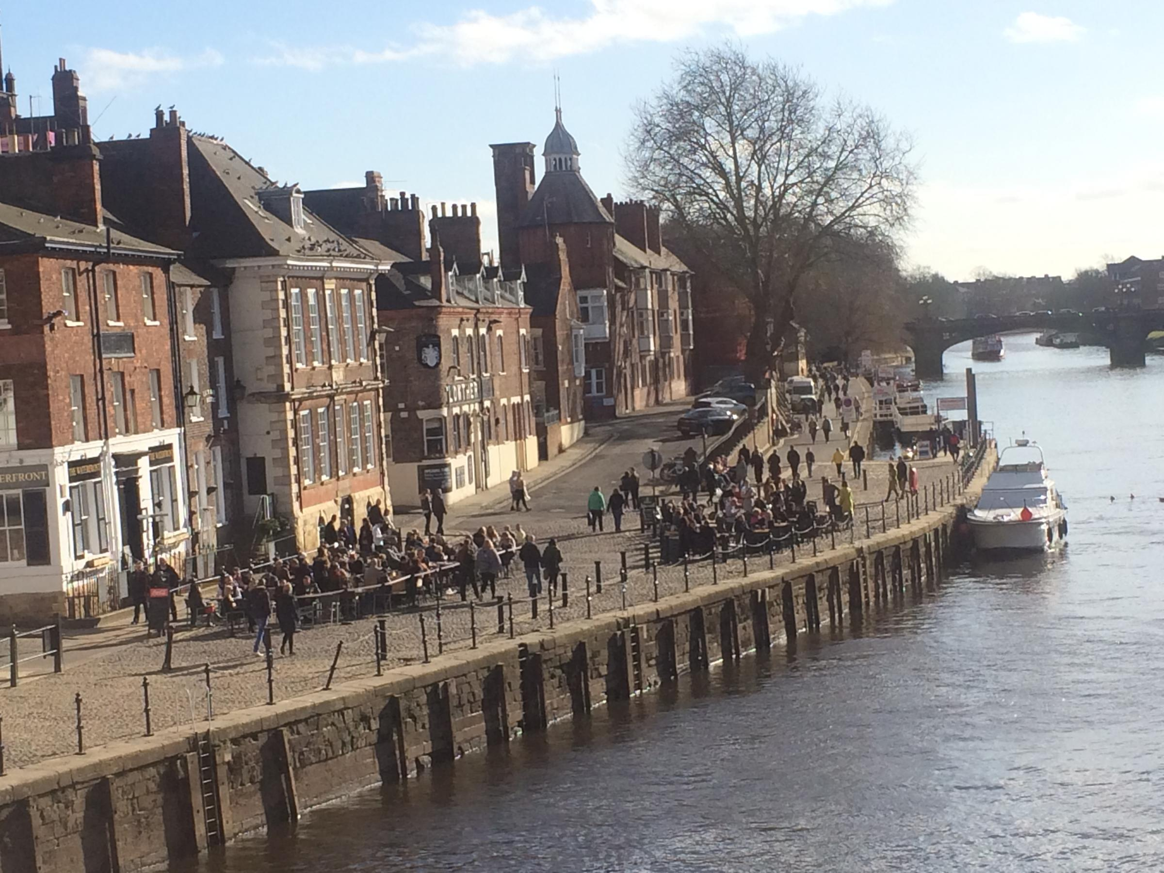 Tables are packed at York's riverside bars on Kings Staith last weekend -there should be more scenes like this on Saturday
