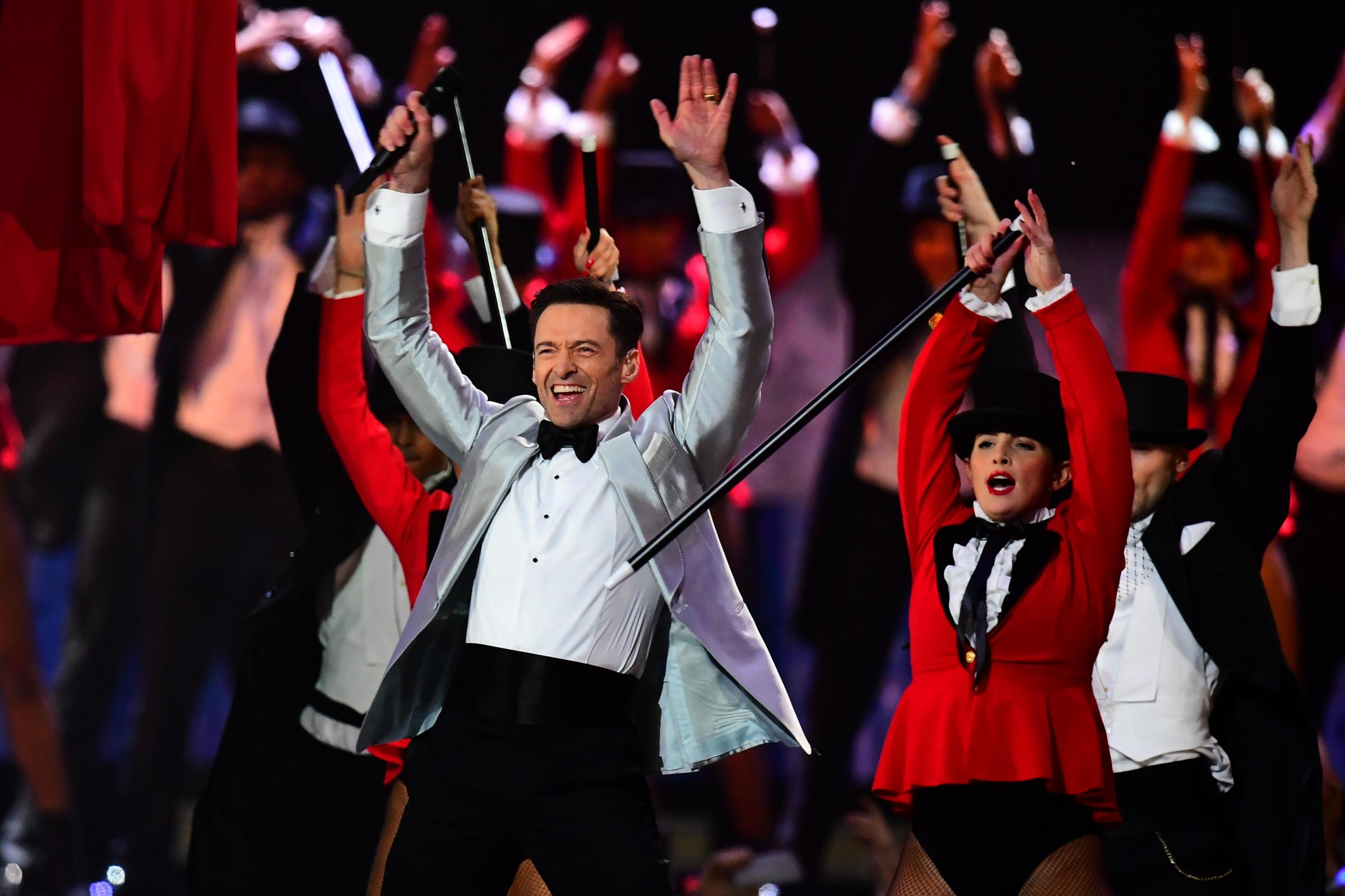 Hugh Jackman on stage at the Brit Awards 2019