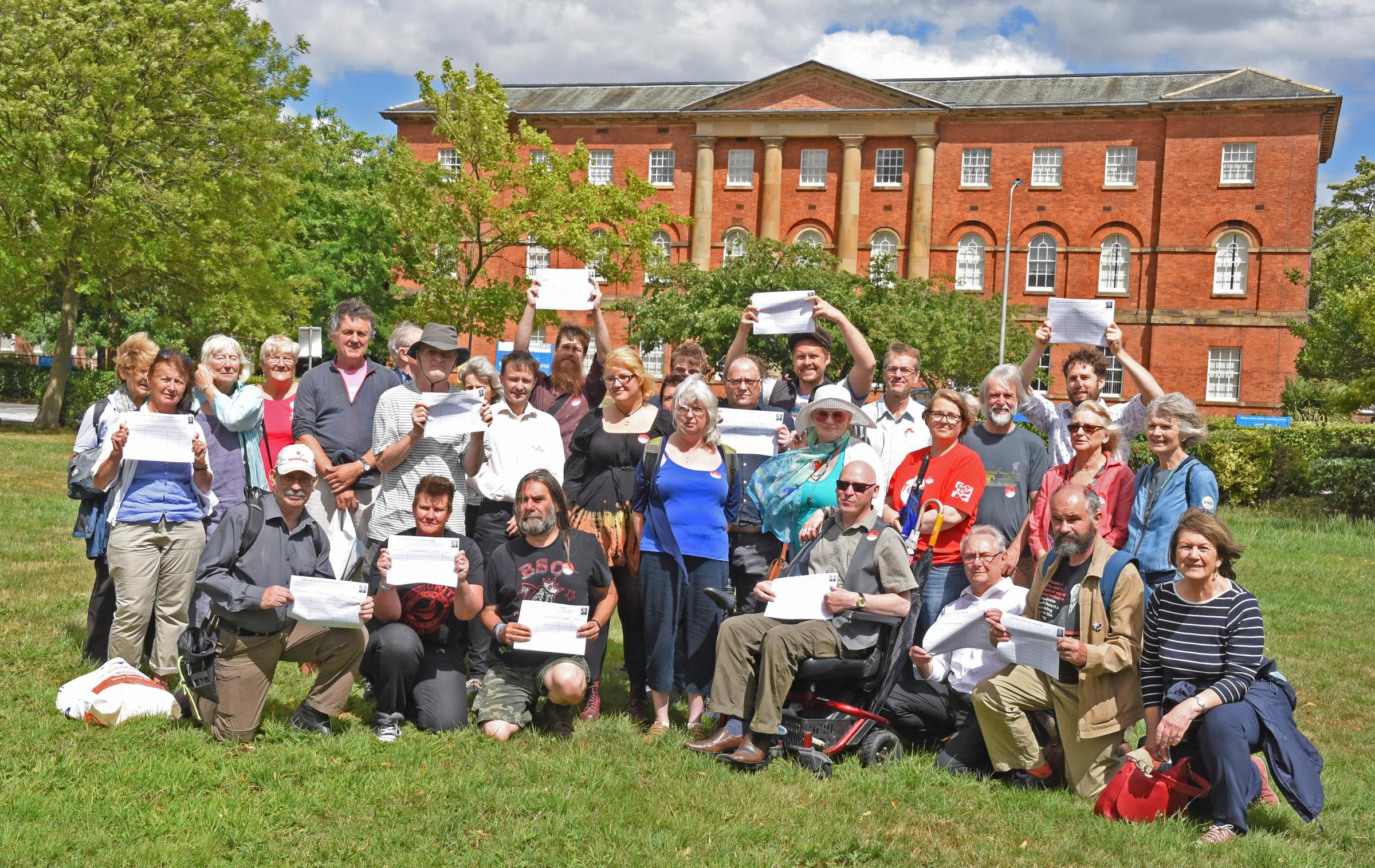 Flashback: Protesters hold their petitions to save Bootham Hospital from private development.Pic Nigel Holland