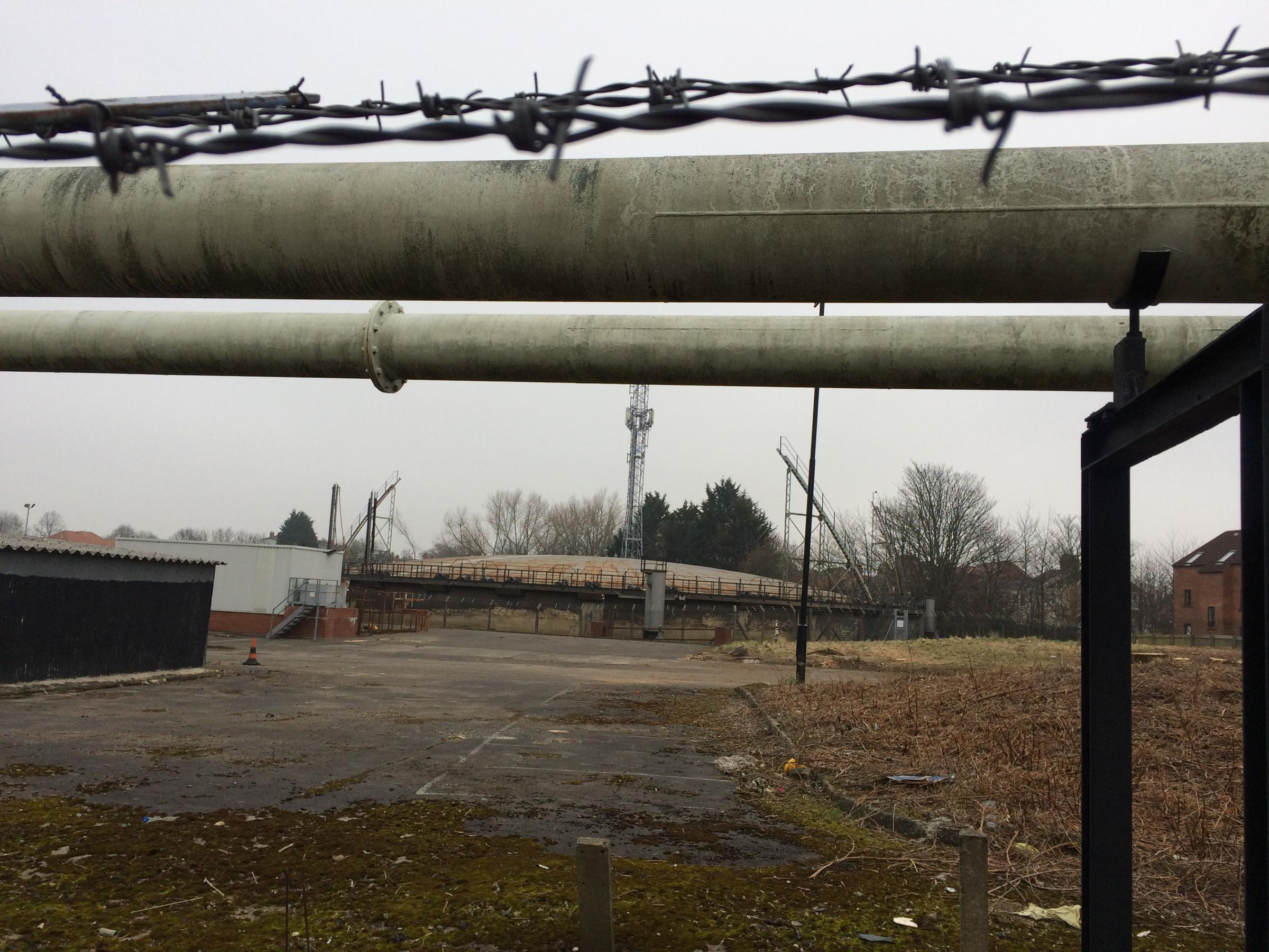 EYESORE: A disused gas holder at the derelict former gasworks site, where 700 homes are planned