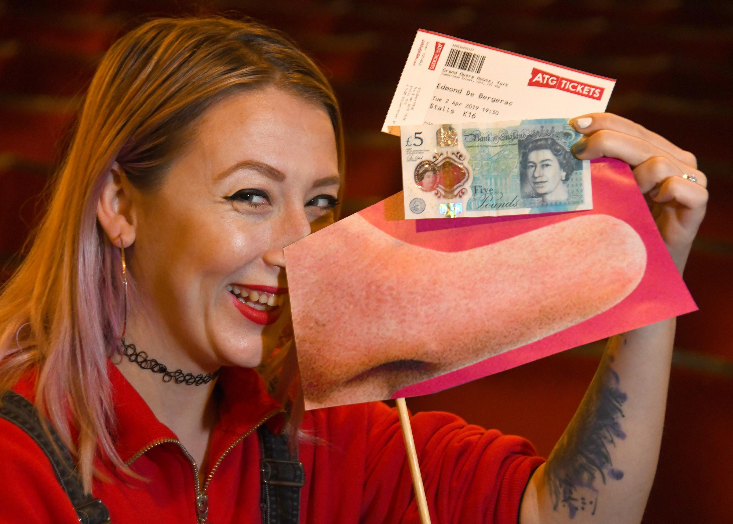 Deputy box office manager Beth Scott with the notorious Bergerac big nose and special £5 tickets for Edmond de Bergerac at the Grand Opera House, York. Picture: David Harrison