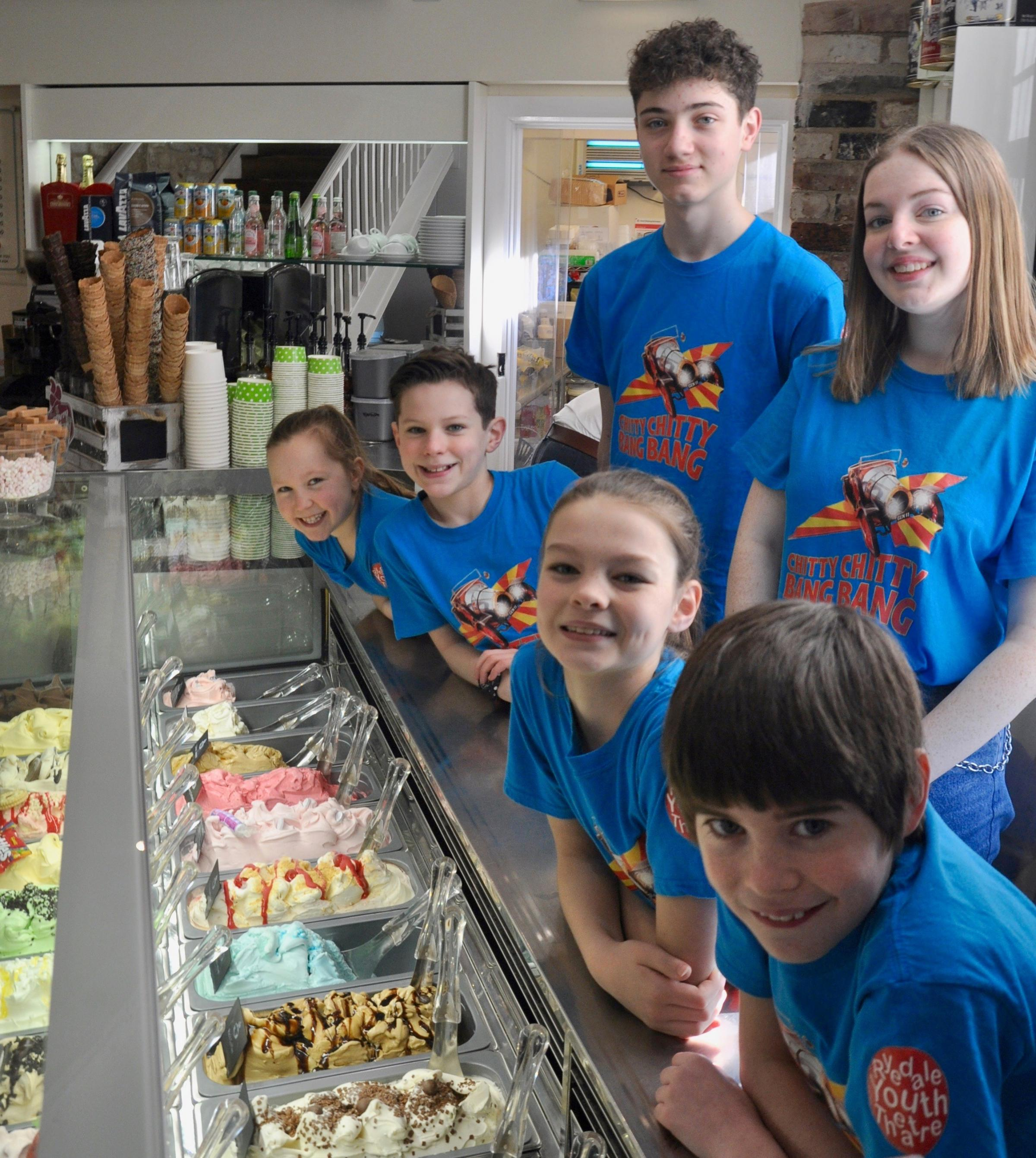 Truly scrumptious: Ryedale Youth Theatre cast members for Chitty Chitty Bang Bang enjoy a visit to the Groovy Moo in Malton