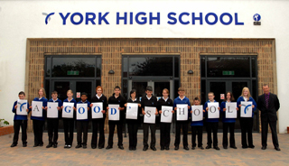 York High School pupils get the  message across with head teacher David Ellis after the glowing Ofsted report