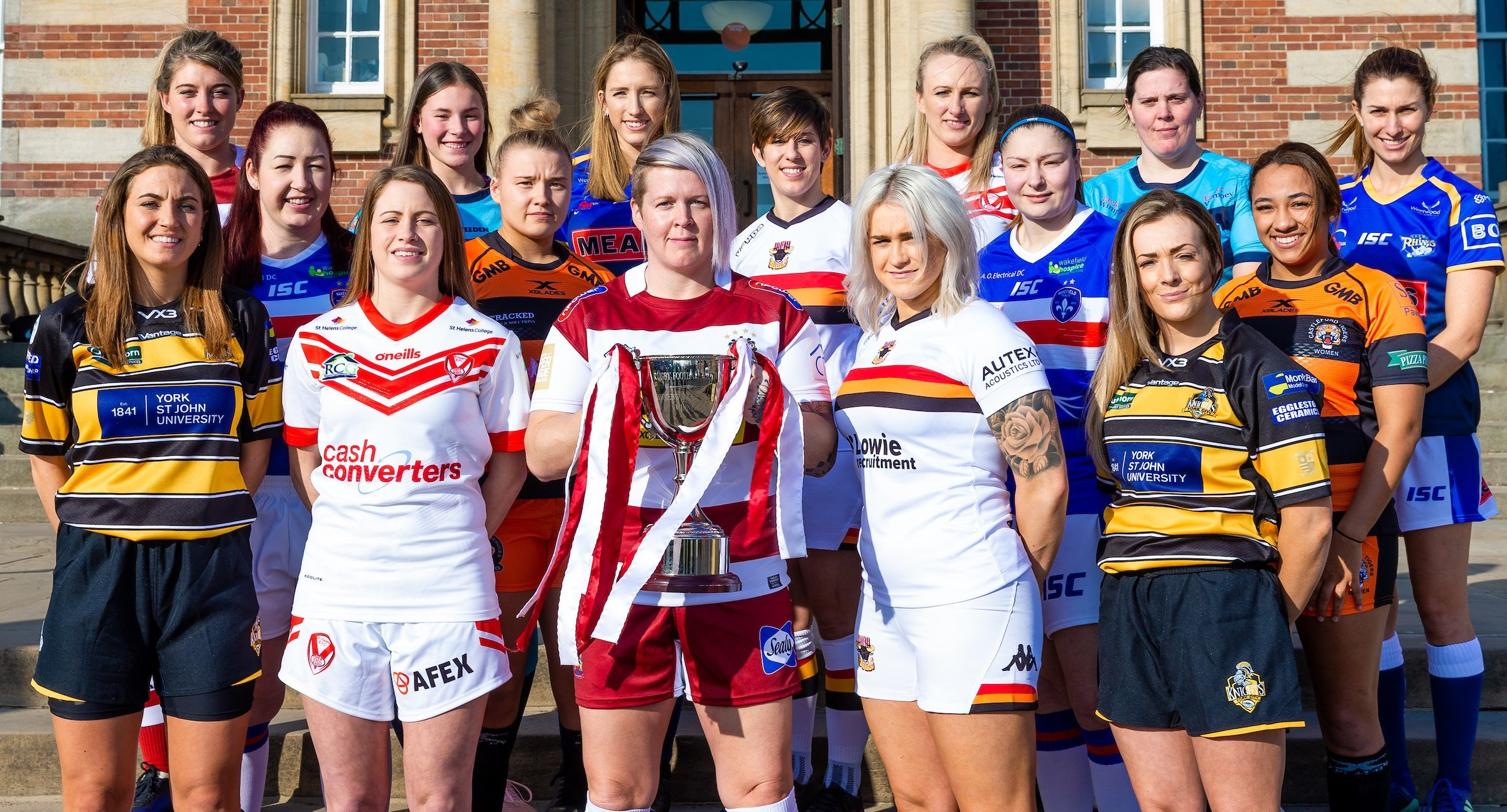 Representatives from each Women's Super League club line up as part of the launch for the 2019 season