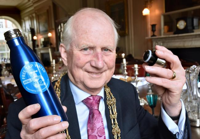 CAMPAIGN: Keith Orrell with a reusable water bottle during his year as Lord MayorPicture: Frank Dwyer