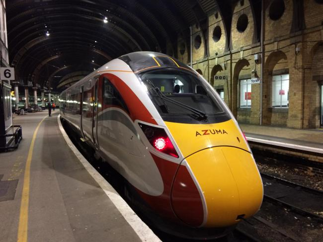 One of LNER's new Azuma trains at York Railway Station