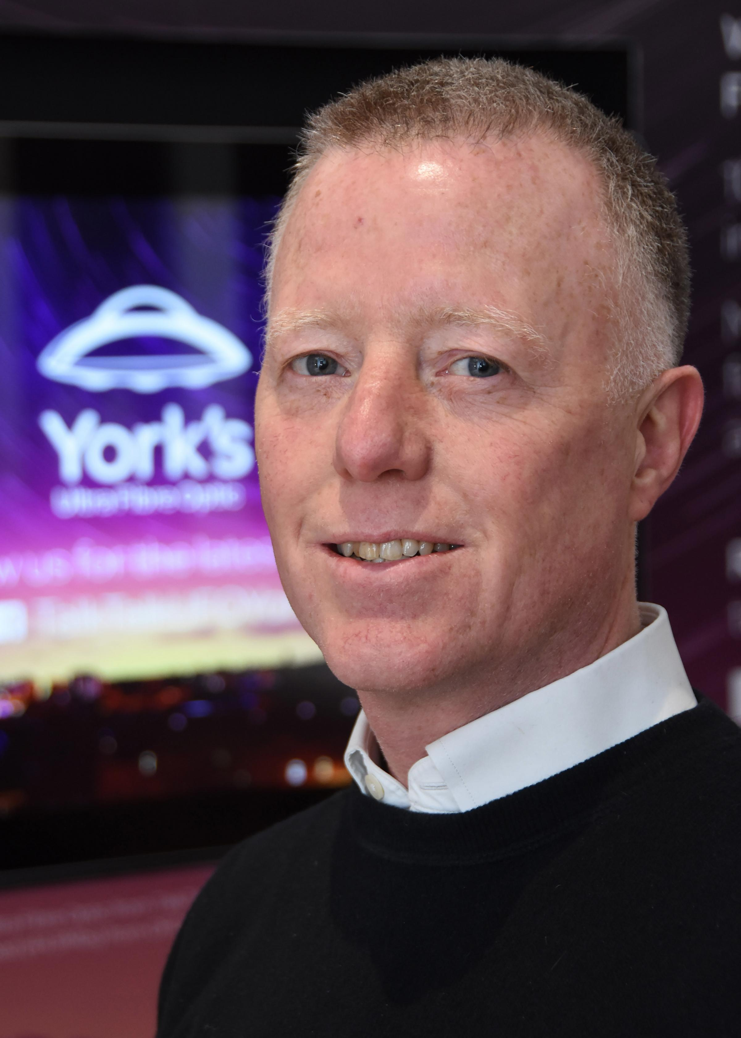Paul Crane Head of Ultrafast Engagement for Talk Talk Group pictured in the York's Ultra Fibre Optic from TalkTalk, new waiting room at York train station where people will be able to experience gigabit broadband speed. Picture David Harrison/TalkTa
