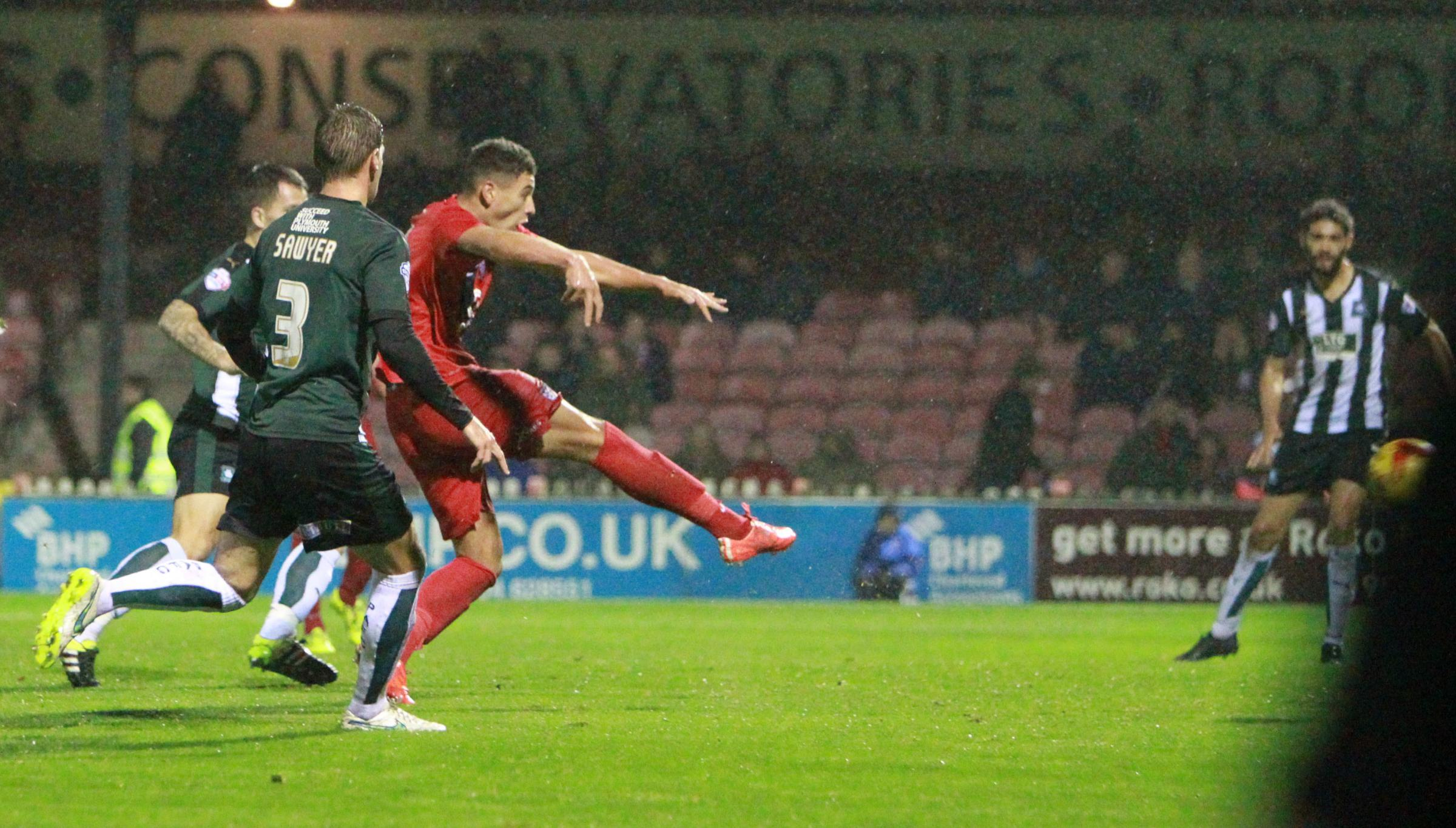 GOAL-DEN BOY: Ex-Archbishop Holgate pupil Ben Godfrey, pictured scoring his only goal for York City against Plymouth, has received a call-up to the England under-20 squad