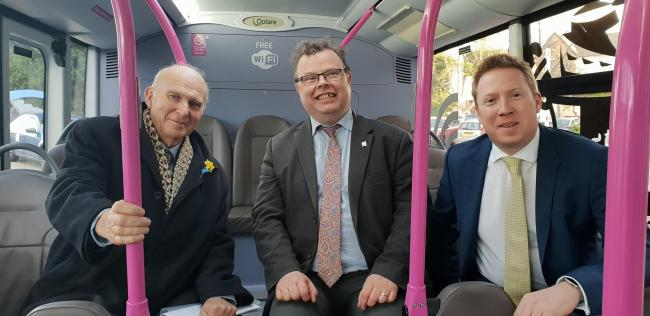 ELECTRIC Sir Vince Cable (left), Cllr Andrew Waller and Marc Bichtemann, managing director of First York, in an electric bus at Monks Cross Park & Ride