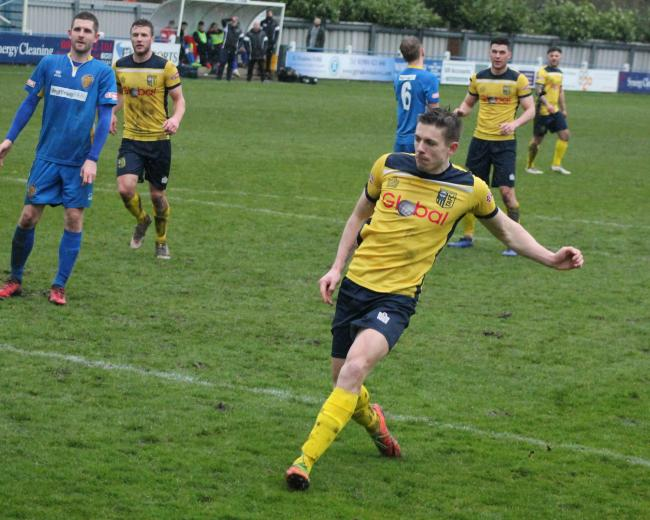 TEAM NEWS: Tadcaster Albion top scorer Joe Lumsden, who tomorrow serves the final game of his suspension following his sending-off against Frickley Athletic. Pictures: Keith A Handley