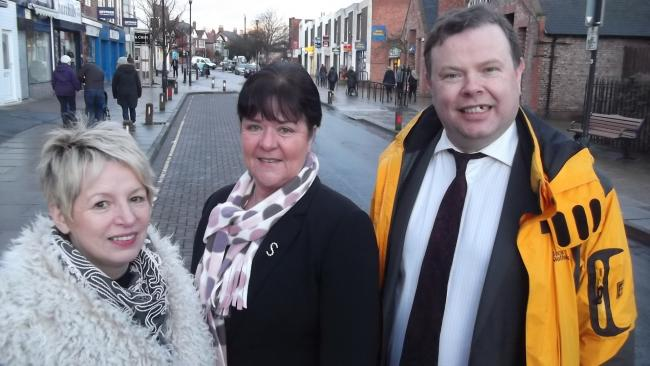 Councillors Sue Hunter, Sheena Jackson and Andrew Waller on Front Street