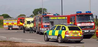 The scene of the overturned lorry accident on York's A1237 outer ring road