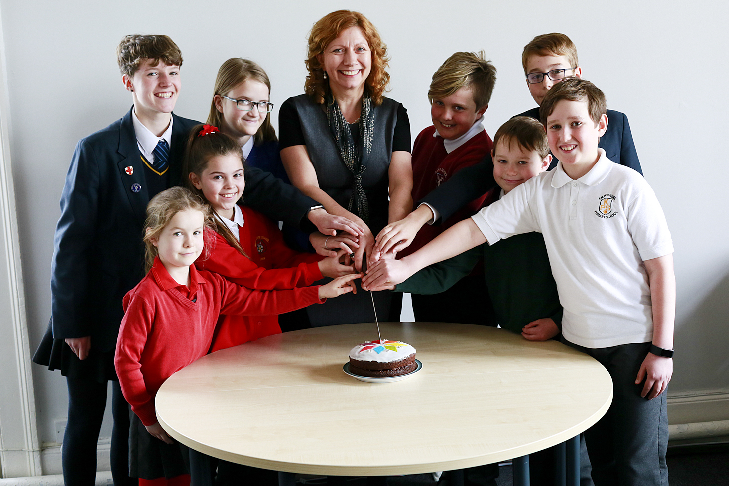 DOUBLE DELIGHT: Trust principal Jo Edwards with pupils from South Bank Trust Schools in York  Picture: Stuart Potter