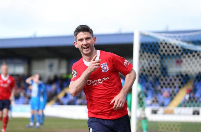 MOVING FORWARD: York City led twice at Chester with Paddy McLaughlin celebrating the team's second goal. The visitors subsequently had to settle for a share of the spoils but manager Steve Watson argued that one defeat in ten matches demonstrates prog