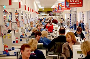 Shoppers at the tills at Tesco's Clifton Moor store in York