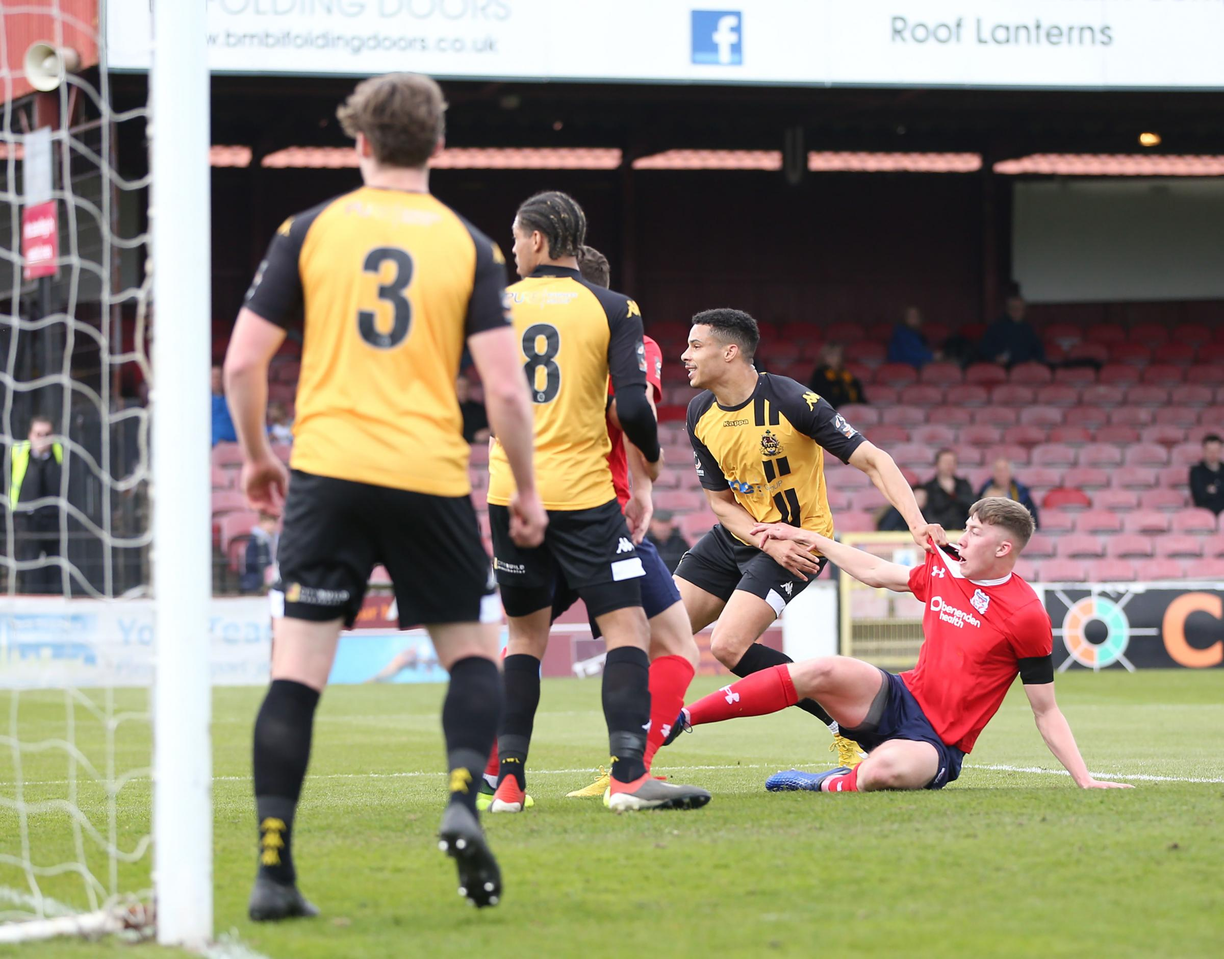 HAPPY TO BE PICKED UP: Teenage defender Jasper Moon, pictured on his senior debut for York City against Southport, has been delighted to be given a chance to get used to the physical side of men's football during his loan spell from Barnsley. Picture: