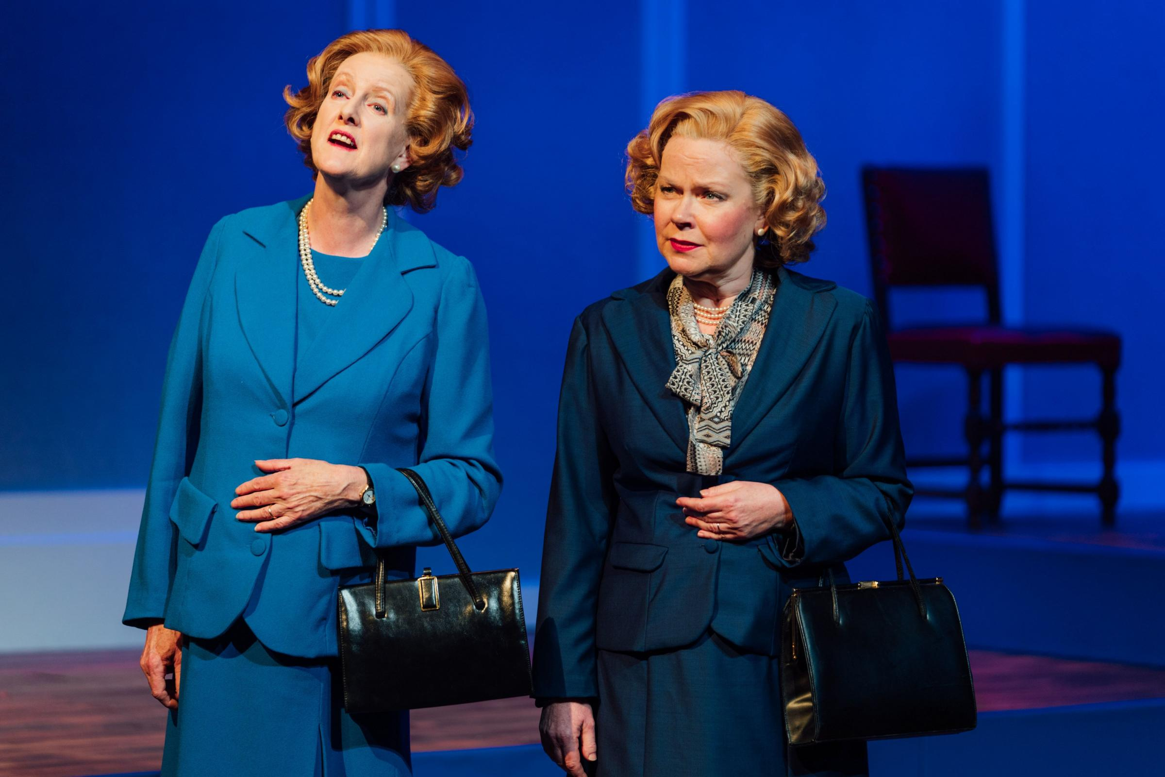 Maggie at the double: Sarah Crowden as T and Eve Matheson as Mags in Handbagged at York Theatre Royal