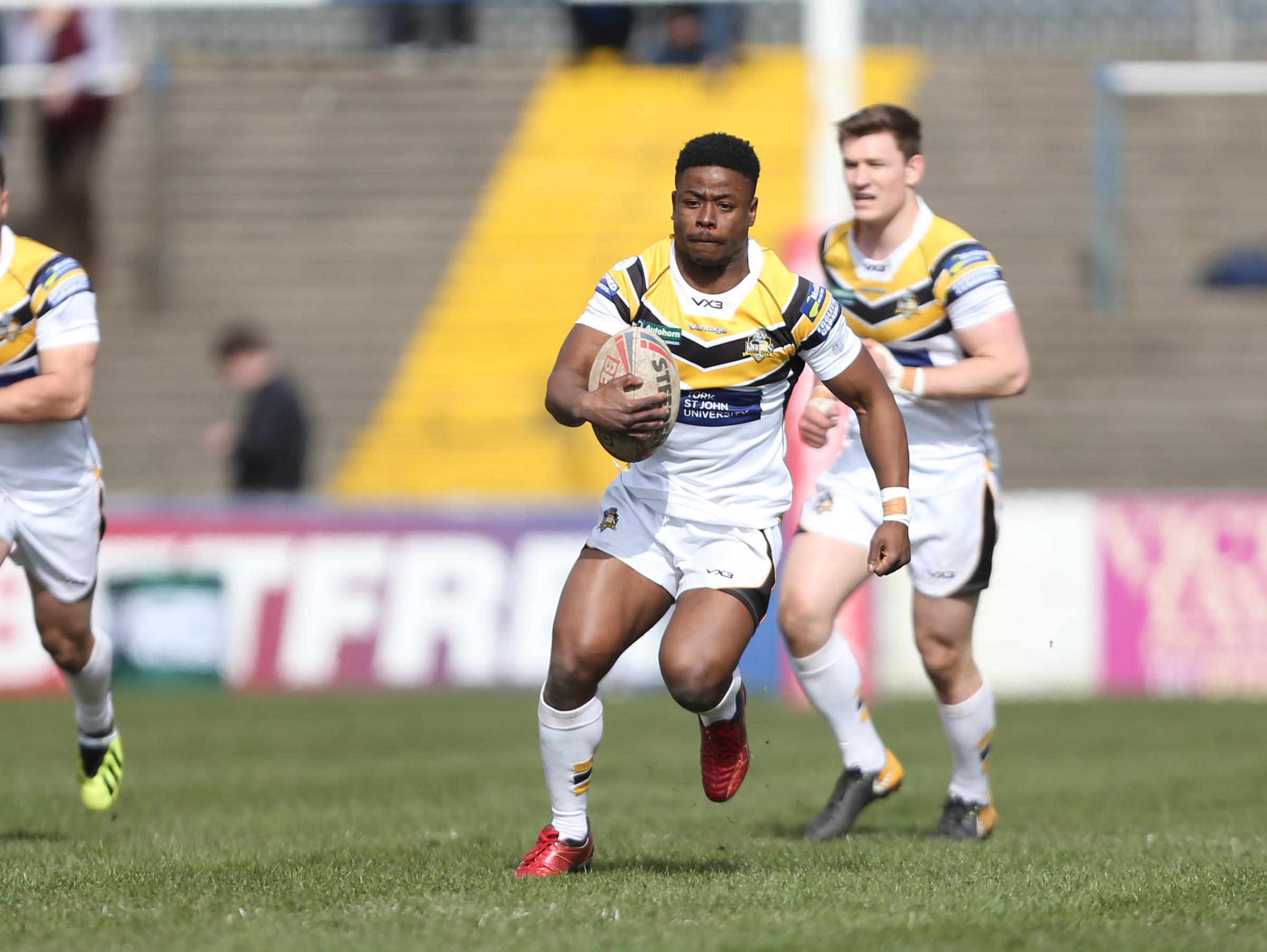 York City Knights winger Judah Massive, who is set to be recalled to the team for Easter Monday's visit of Widnes Vikings. Picture: Gordon Clayton