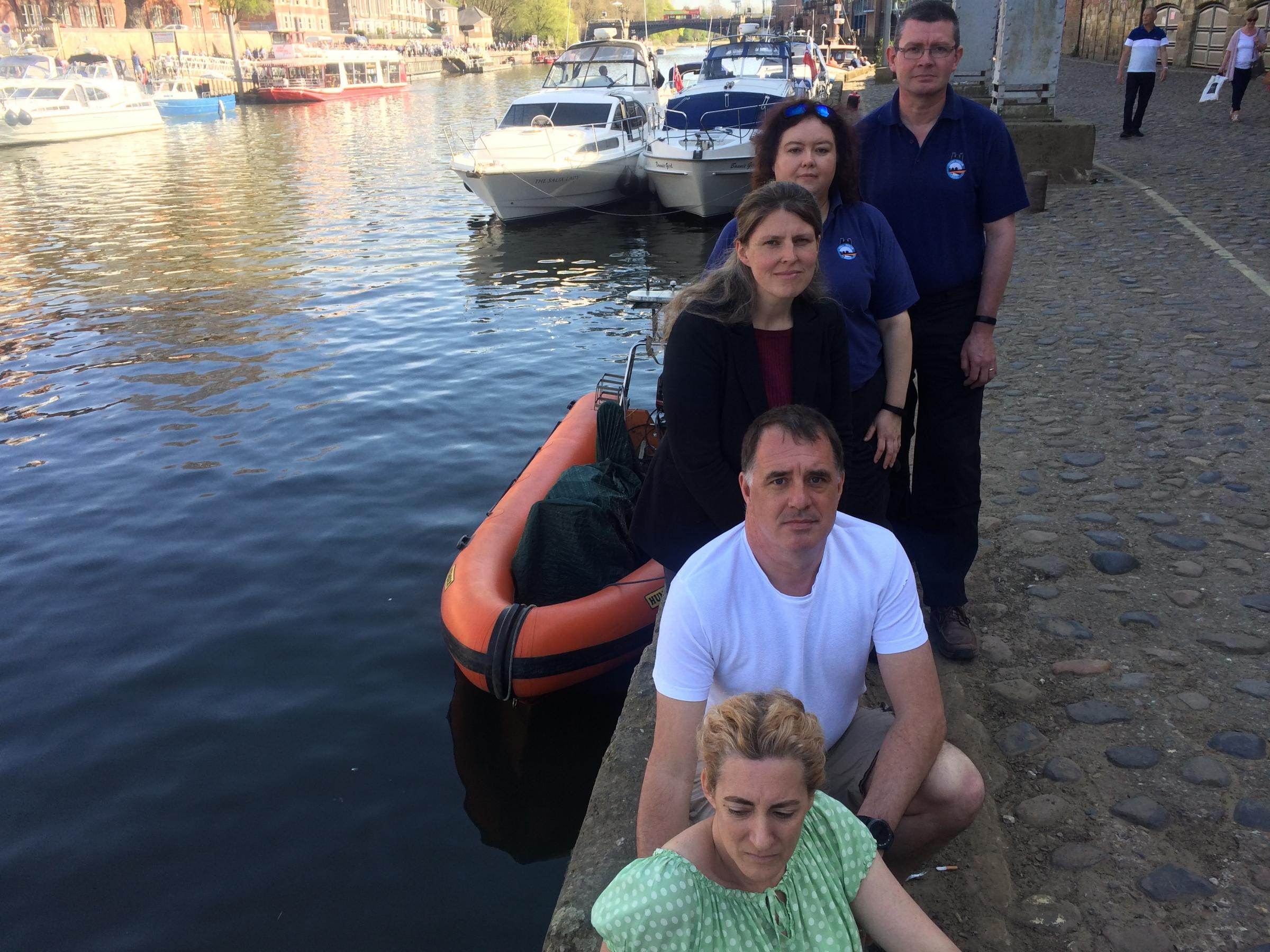 Sonny Ferry's parents Kate and Stephen Ferry, pictured on Queen's Staith with the existing rescue boat, and York Central MP Rachael Maskell and Rachel Lacey and David Wilson of York Rescue Boat  Picture: Mike Laycock
