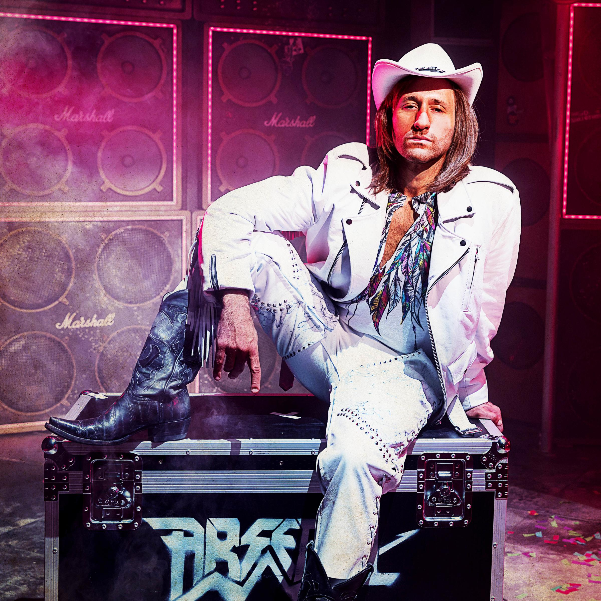 Rock god: Antony Costa as Stacee Jaxx in Rock Of Ages. Picture: Darren Bell