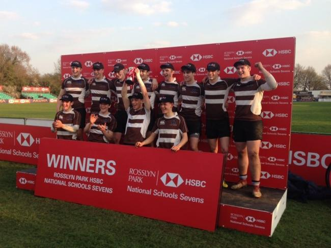 CUP JOY: St Peter's School Under-16s celebrate their victory at the Rosslyn Park National Schools Sevens tournament
