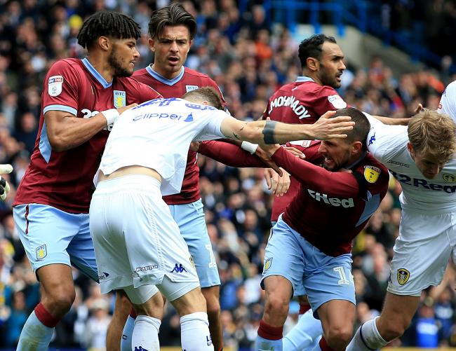 Leeds United's Mateusz Klich is confronted by Aston Villa's Conor Hourihane after he scores his side's first goal whilst Aston Villa's Jonathan Kodjia was down injured   Picture: Clint Hughes/PA Wire