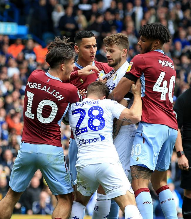 Temper flare in the fiesty 1-1 draw between Leeds United and Aston Villa in the Championship at Elland Road