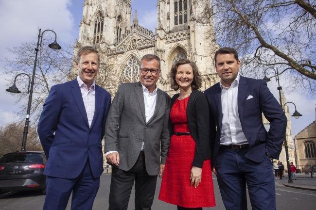 From left: Former LTS director Mark Mills, The Technology Group acquisitions director David Marsden, former LTS director Sarah Mills and The Technology Group CEO Jonathan Marsden marking the acquisition at York Minster