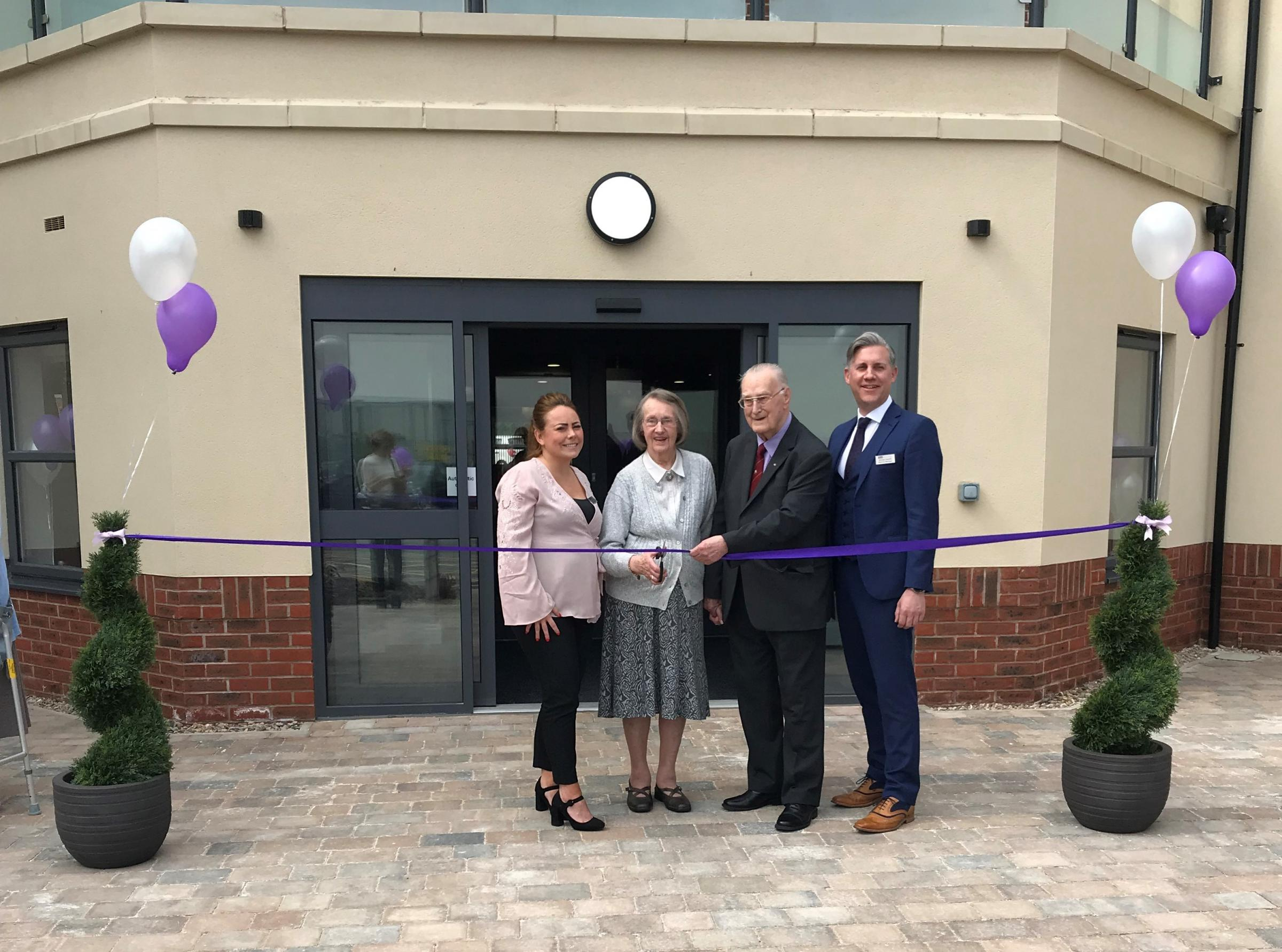 From left: Registered home manager, Rachel McNally, Dorothy Harrison, Ebor Court resident and former payroll administrator at Handley Page, Norman Spencer, museum volunteer and care home general manager, Michael Gledhill