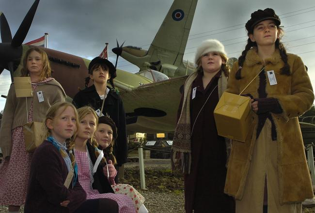 Pupils from St Oswald's School in York dressed as evacuees at Eden Camp during a special WWII awareness day at the museum on a previous occasion    Picture: David Harrison